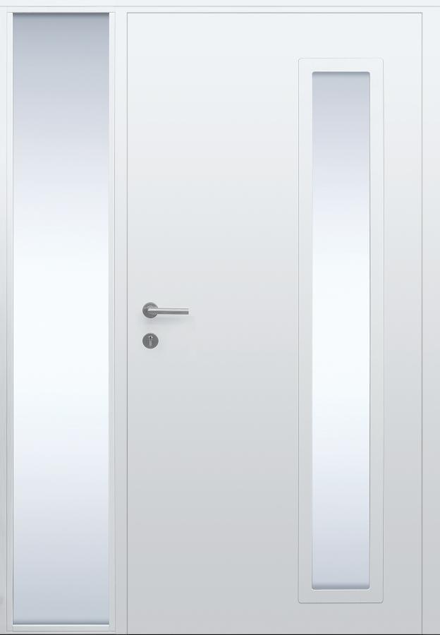 Haustür weiß Innenansicht mit Seitenteil BG11 Modell B63-T1