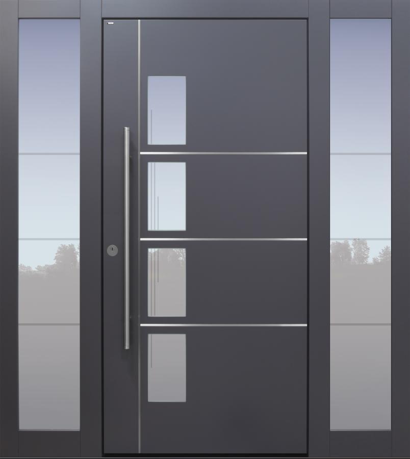 Haustür modern, anthrazit, TOPICcore, Edelstahl, Seitenteil, Sicherheitstür, passivhaustauglich, besser als Alu, Glas, Glasmotiv