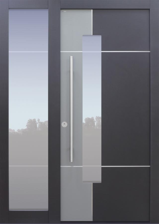 Haustür anthrazit mit Glasmotiv MS4 mit Edelstahllisenen auf Kundenwunsch mit Option 2. Farbe mit Seitenteil T Modell B68-T