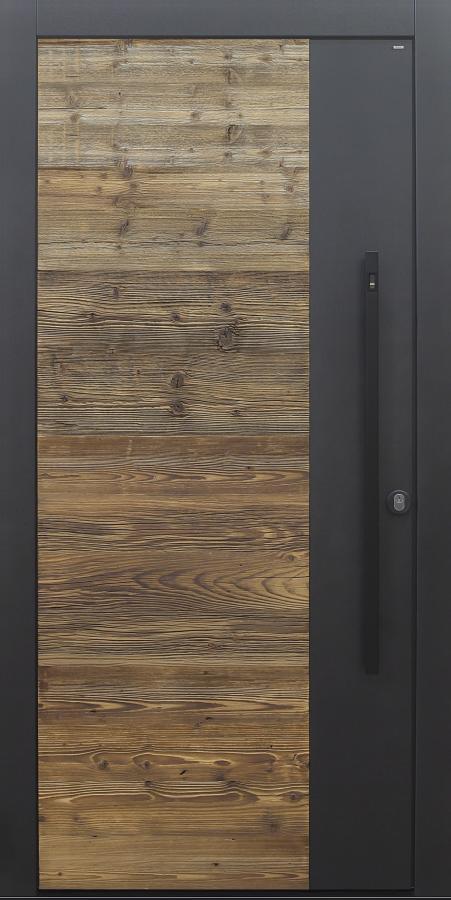 Haustür modern, Holz, Fichte, Altholz Fichte, Altholz, Sicherheitstür, passivhaustauglich, besser als Alu, Fingerprint, Stoßgriff schwarz