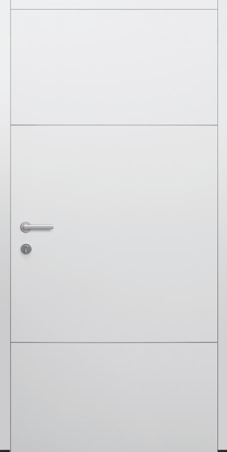 Haustür weiß Innenansicht mit Edelstahllisenen Modell B9-T1