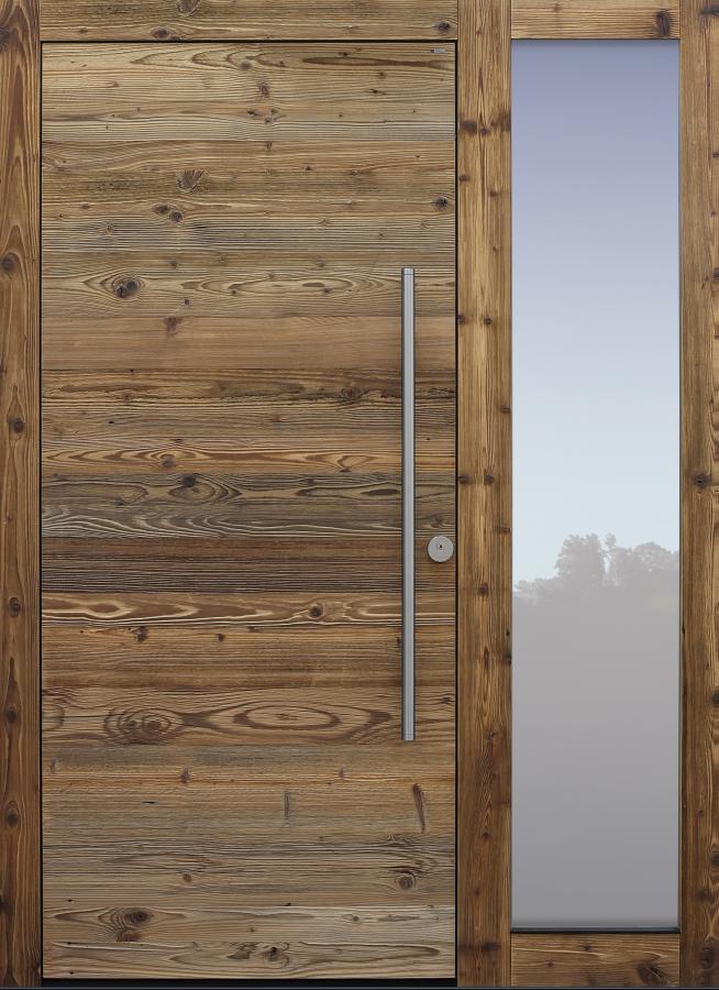 Haustür Altholz Fichte mit Option Altholz am Rahmen mit Seitenteil T Modell B9-T