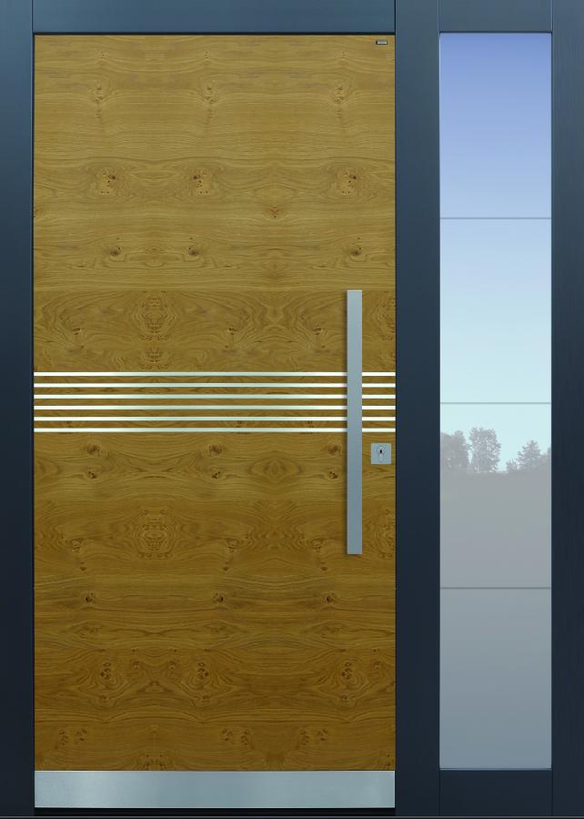 Haustür modern, Eiche astig, Holz, Edelstahllisenen, Sicherheitstür, passivhaustauglich, besser als Alu, Glas, Seitenteil