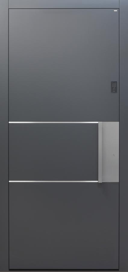 Haustür anthrazit mit Keypad mit Design B903 2 Lisenen Modell B9-T1