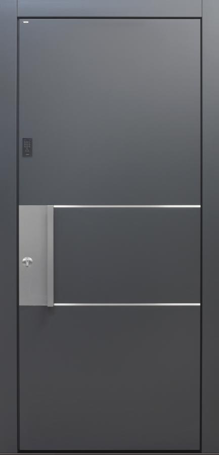 Haustür modern, TOPICcore, Dunkelgrau, Anthrazit, Sicherheitstür, passivhaustauglich, besser als Alu, Keypad