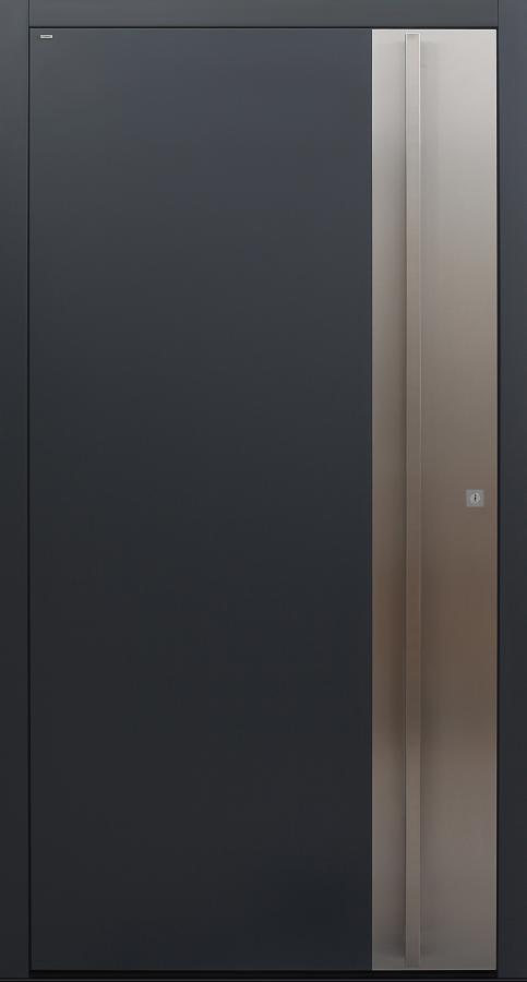 Haustür anthrazit mit Edelstahl im Schlossbereich und Option Designpaket Modell B9-T1