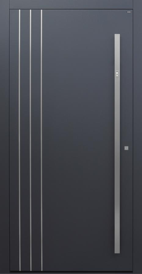 Haustür anthrazit mit 3 Edelstahllisenen längs auf Kundenwunsch mit Option Designpaket mit Fingerprint Modell B9-T1