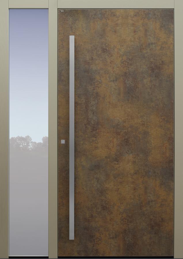 Haustür Exterior Patina Bronze mit Option Designpaket mit Seitenteil B1 Modell B9-T1