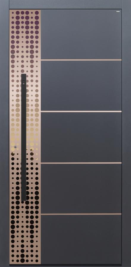Haustür Design Glanz in Bronze, dunkelgrau mit 4 Lisenen Bronze matt Modell B9-T2