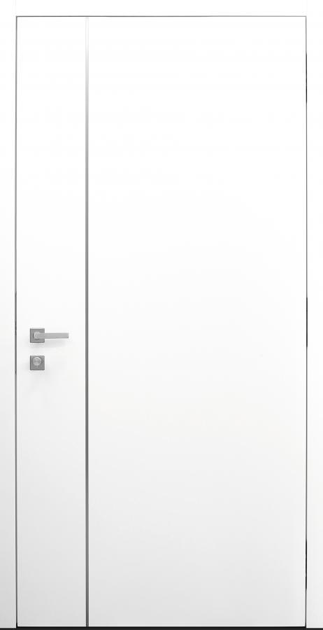 Haustür weiß Innenansicht mit Edelstahllisene schlossseitig Modell B9-T2