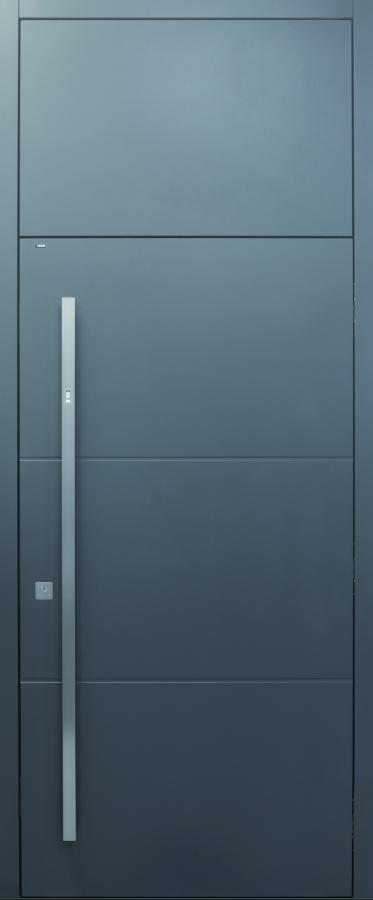 Haustür, grau, modern, XL, Fingerprint, Spurfräsungen auf Kundenwunsch, Topiccore, Sicherheitstür, passivhaustauglich, besser als Alu