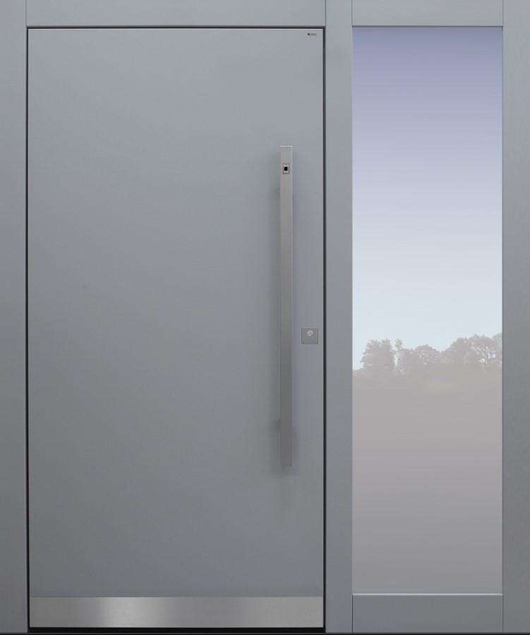 Haustür modern, hellgrau, TOPICcore, Sicherheitstür, passivhaustauglich, besser als Alu, Fingerprint