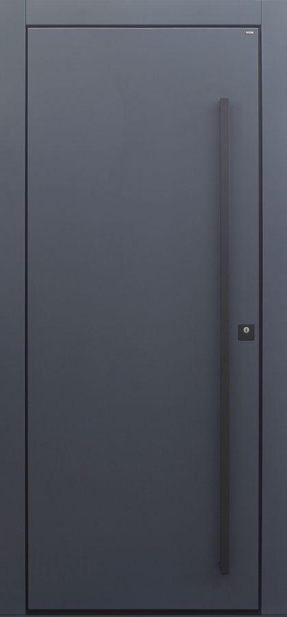 Haustür modern, dunkelgrau, anthrazit, TOPICcore, Sicherheitstür, passivhaustauglich, besser als Alu, Stoßgriff schwarz