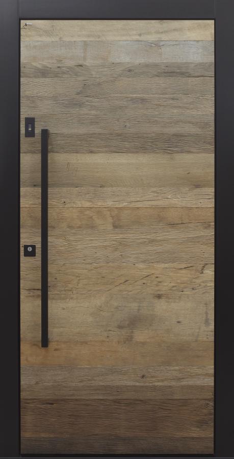 Haustür modern, Altholz, Eiche, Holz, über 300 Jahre, schwarz, TOPICcore, Sicherheitstür, passivhaustauglich, besser als Alu