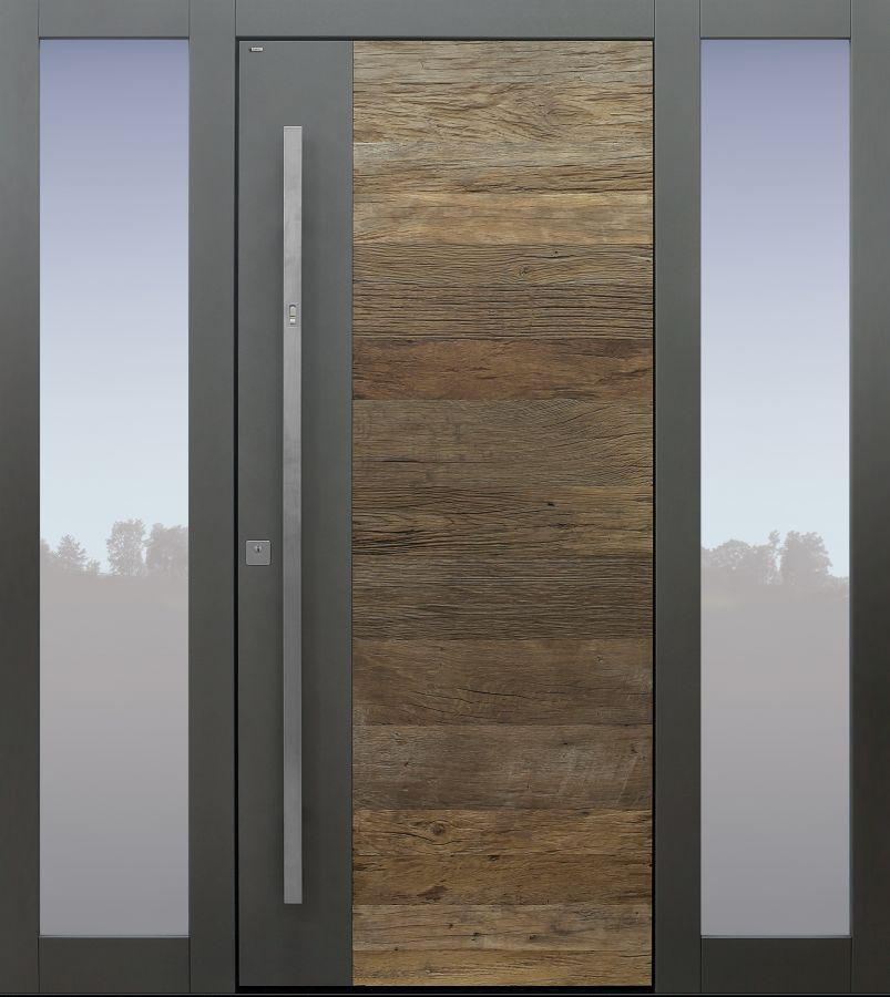 Haustür modern, Altholz Eiche, Altholz, TOPICcore, Holz, Eiche, Sicherheitstür, passivhaustauglich, besser als Alu, Glas, Fingerprint