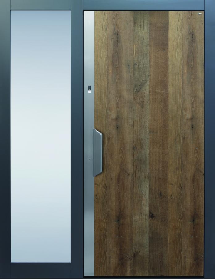 Haustür modern anthrazit, Holz, Altholz, Eiche, über 300 Jahre, Sicherheitstür, passivhaustauglich, TOPICcore, besser als alu, Edelstahl, Seitenteil Glas