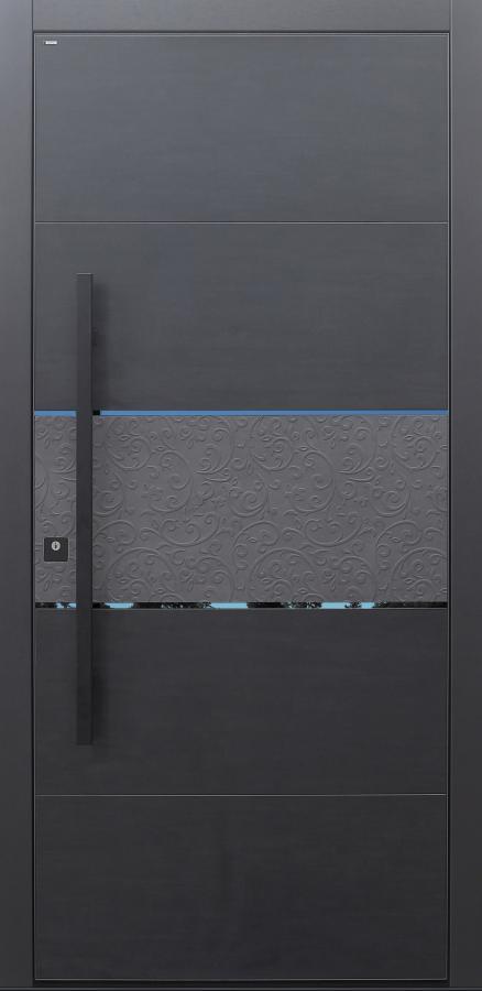 Haustür Keramik Koshi nero Design B918 Betonornament mit Stoßgriff schwarz mit schwarzen PVD polierten Lisenen Modell B9-T3