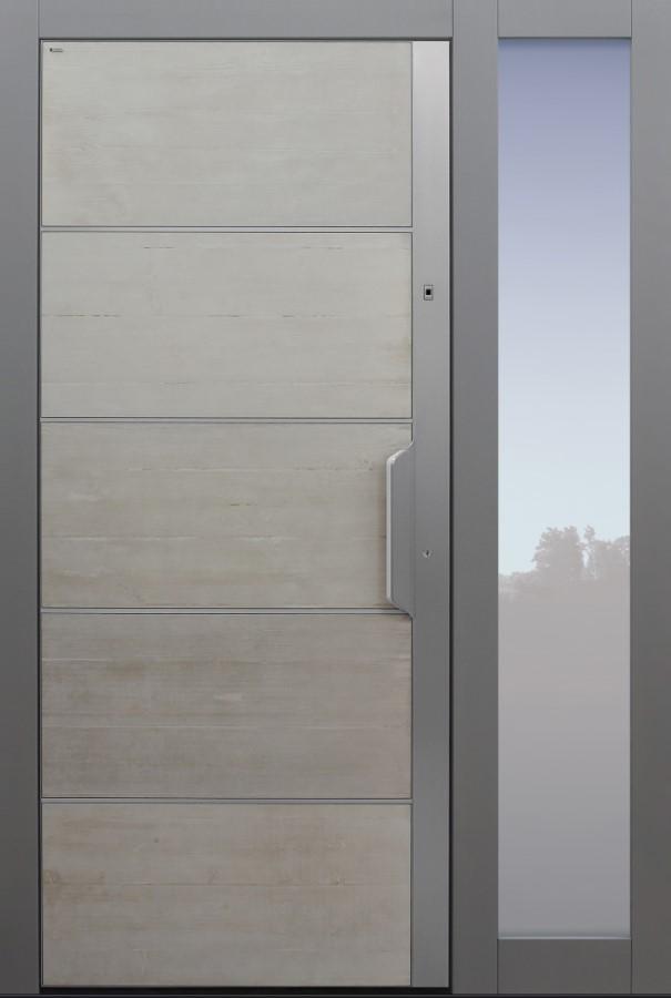 Haustür modern, Echtbeton, Beton, grau, Sicherheitstür, passivhaustauglich, besser als Alu, Glas, Seitenteil, Fingerprint