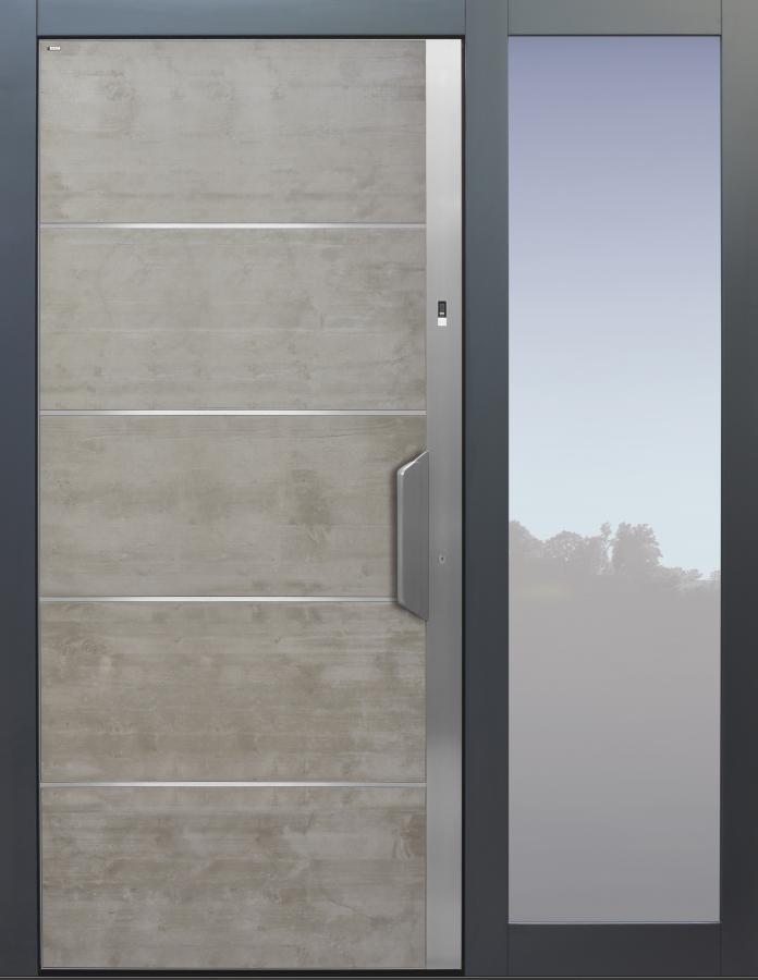 Haustür grau, Edelstahl, Beton, Echtbeton, Sicherheitstür, passivhaustauglich, TOPICcore, besser als Alu, Seitenteil, Glas