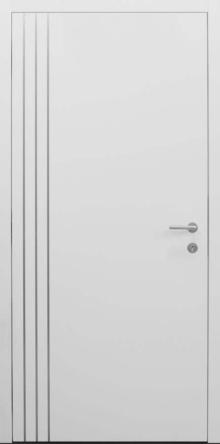 Haustür weiß Innenansicht mit Edelstahllisenen bandseitig Modell B9-T3