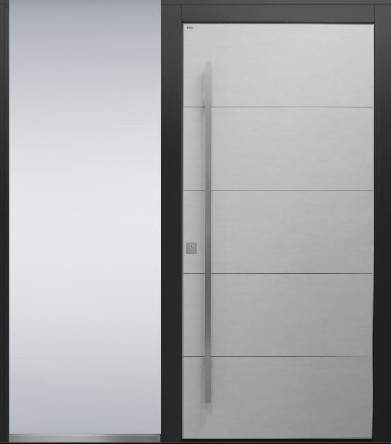 Haustür modern, weiß, anthrazit, Keramik, Edelstahl, Sicherheitstür, passivhaustauglich, besser als alu, Seitenteil, Glas