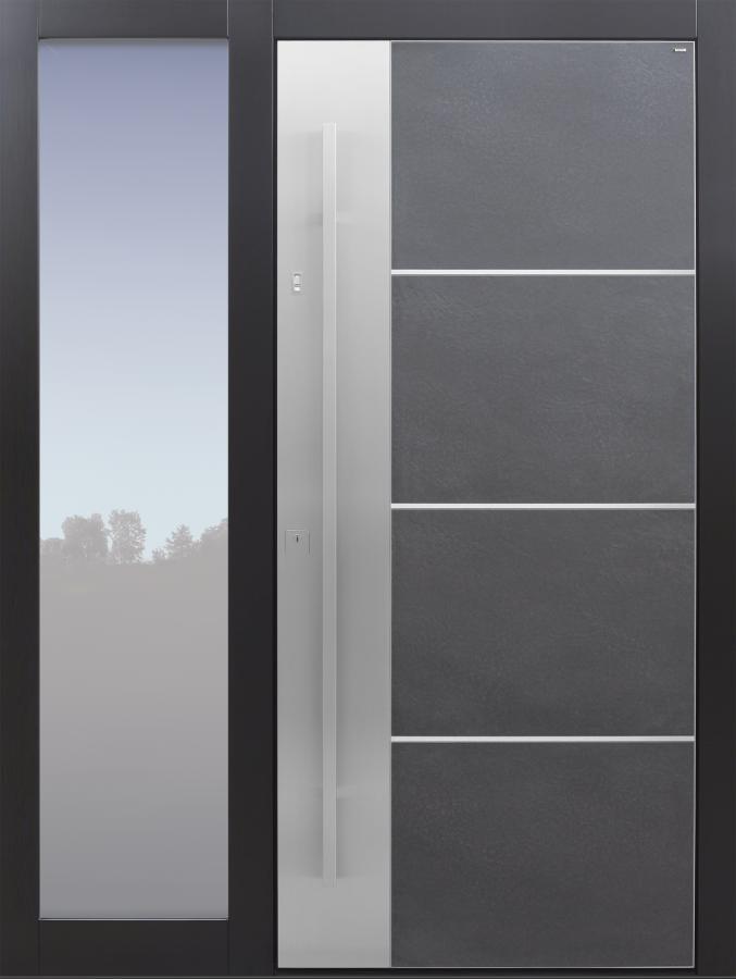 Haustür modern, Keramik, anthrazit, schwarz, TOPICcore, Fingerprint, Edelstahl, mit Seitenteil, Sicherheitstür, passivhaustauglich, besser als Alu, Glas