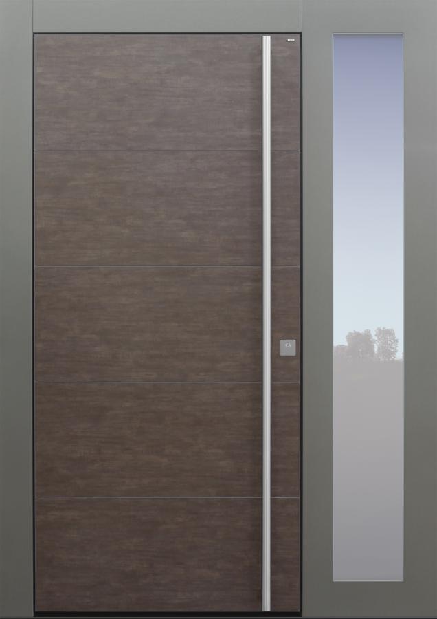 Haustür modern, Keramik, braun, TOPICcore, mit Seitenteil, Sicherheitstür, passivhaustauglich, besser als Alu, Glas