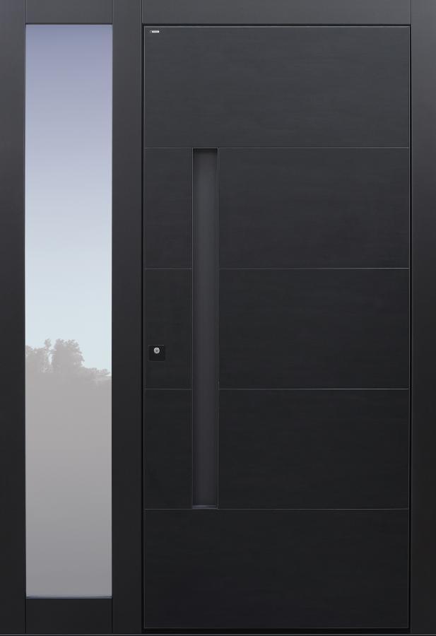Haustüren modern, Keramik, dunkelgrau, Koshi nero, Seitenteil, Sicherheitstür, passivhaustauglich, TOPICcore, besser als Alu, Glas