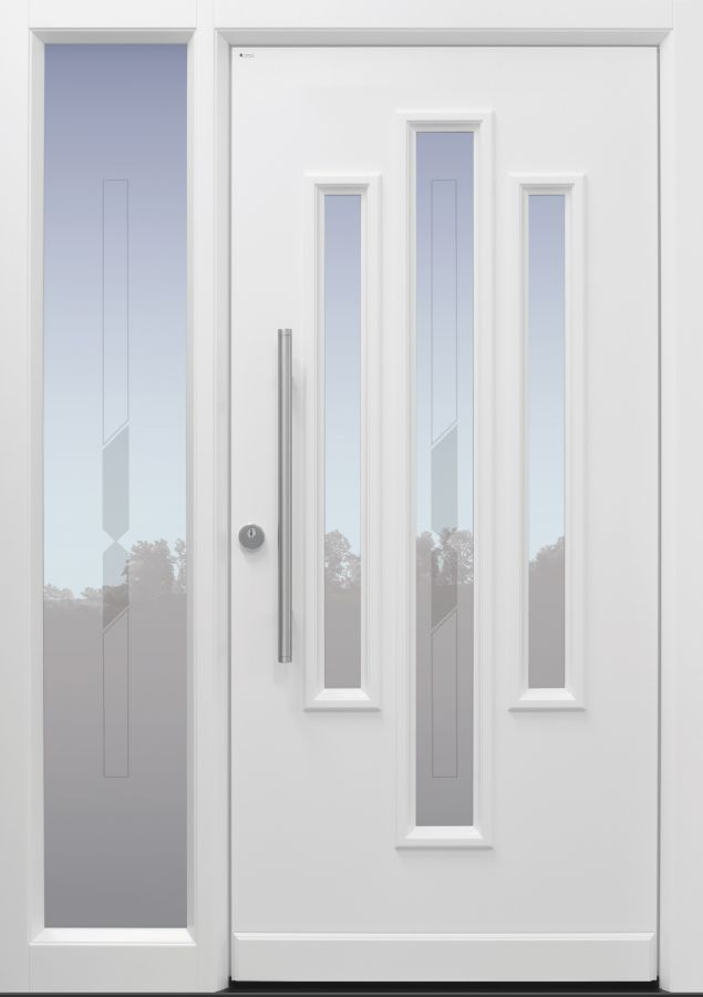 Haustür Landhaus klassisch rustikal, weiß, Topiccore, Seitenteil, Sicherheitstür, passivhaustauglich, besser als alu, Glas