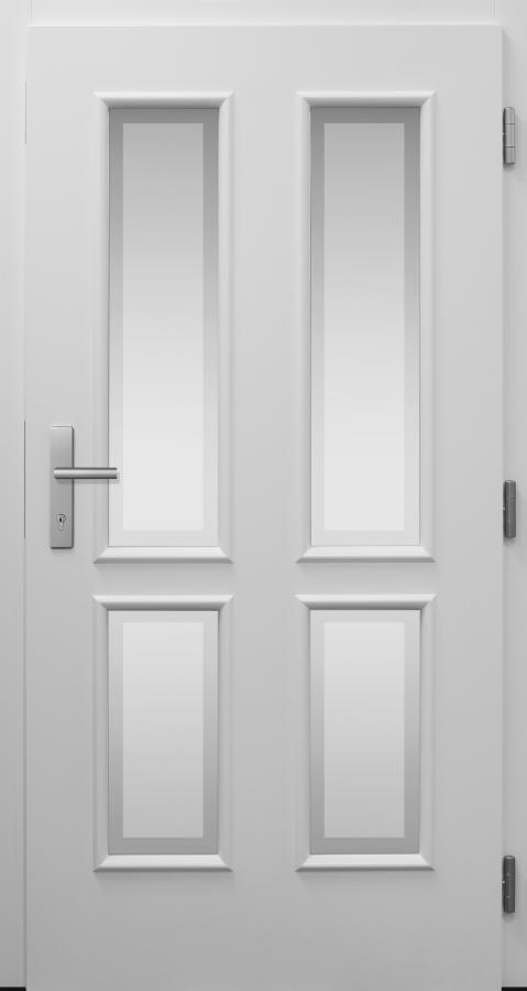 Haustür, Landhaus klassisch rustikal, weiß, TOPICcore, Sicherheitstür, passivhaustauglich, besser als alu, Glas
