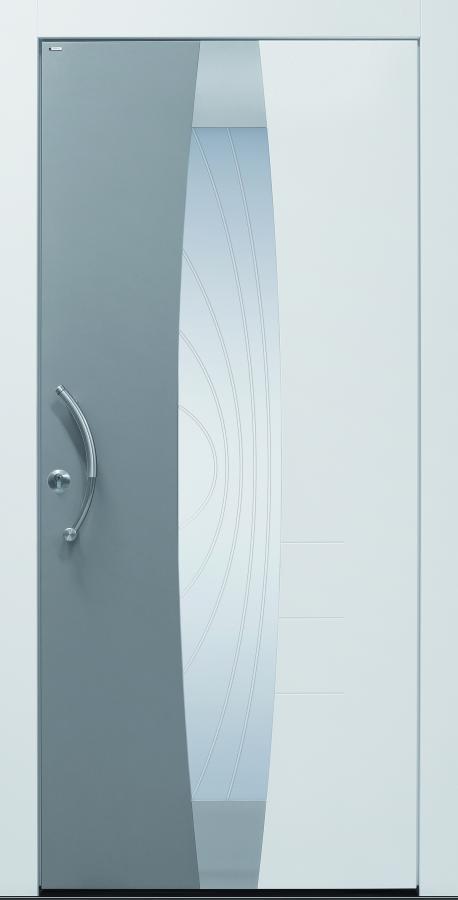 Haustür modern, grau und weiß, Current A403-T1, Glasdesign