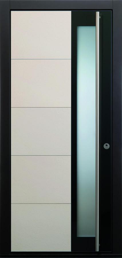 Haustür modern anthrazit, beige, grau Keramik, Sicherheitstür, passivhaustauglich, TOPICcore, besser als alu, Glas