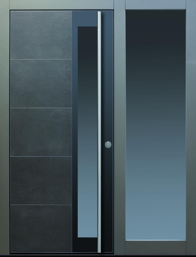 Haustür modern anthrazit, grau Keramik, Sicherheitstür, passivhaustauglich, TOPICcore, besser als alu, Glas, Seitenteil, Parsol grau