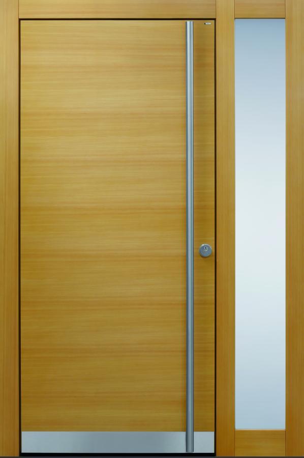 Haustüren modern, braun, Lärche, Holz, Edelstahl, Sicherheitstür, passivhaustauglich, besser als alu, Glas