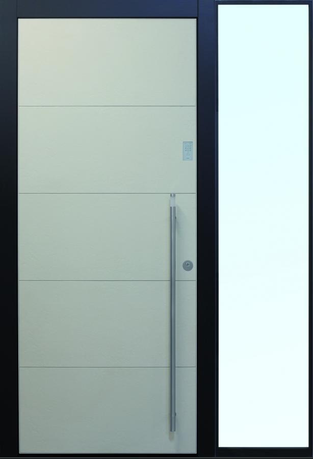 Haustür modern grau, anthrazit, Keramik, Sicherheitstür, passivhaustauglich, TOPICcore, besser als alu, Seitenteil, Glas, Keypad, LED