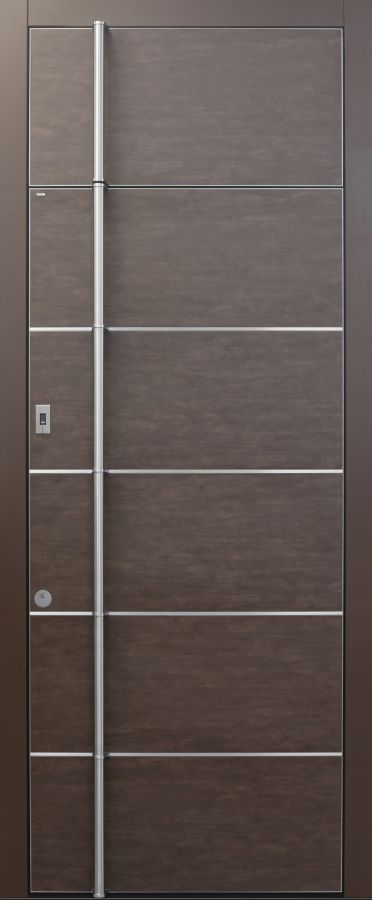 Haustür modern, Keramik, Braun, Sicherheitstür, passivhaustauglich, besser als Alu, Fingerprint