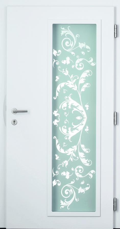 Haustür weiß, Innenansicht, Glasdesign