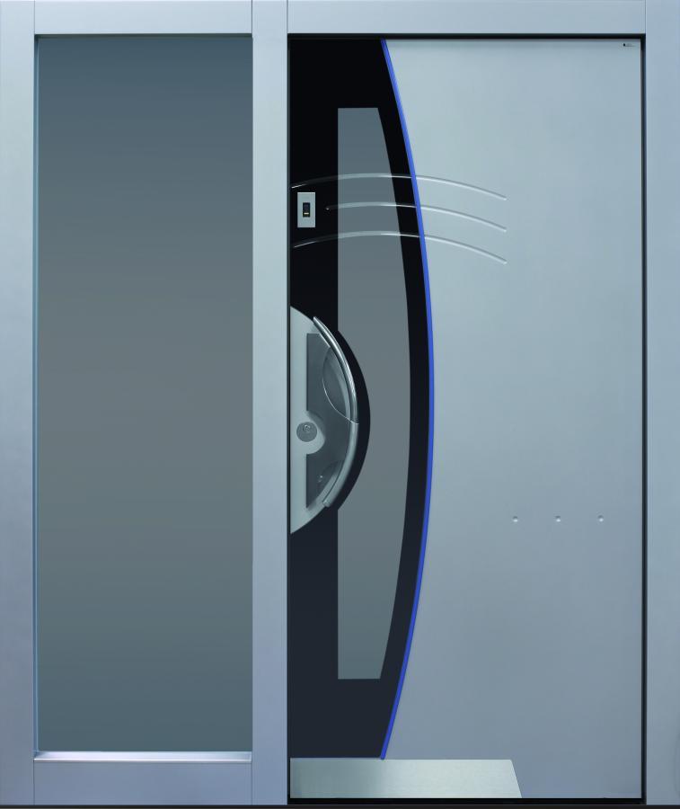 Haustür modern, grau,  TOPICcore, Sicherheitstür, passivhaustauglich, besser als alu, Seitenteil, Glas