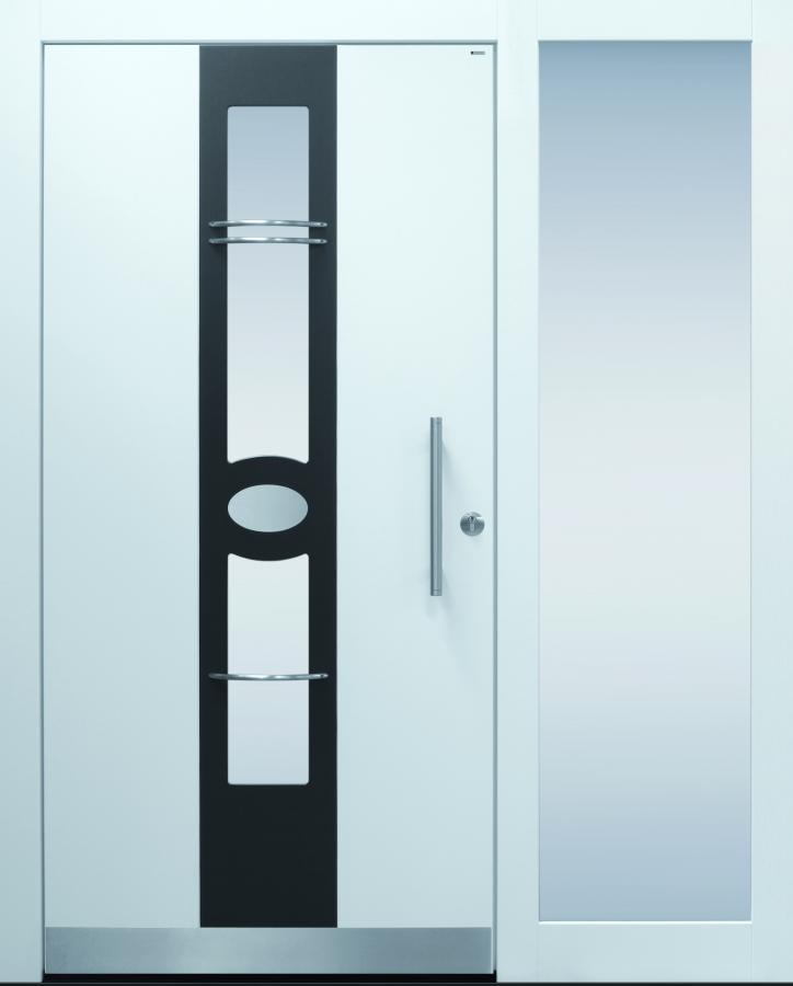 Haustür modern, weiß, anthrazit,  TOPICcore, Sicherheitstür, passivhaustauglich, besser als alu, Seitenteil, Glas