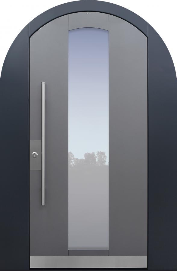 Haustür grau mit Segmentbogen mit Stockverbreiterung Modell B11-T1