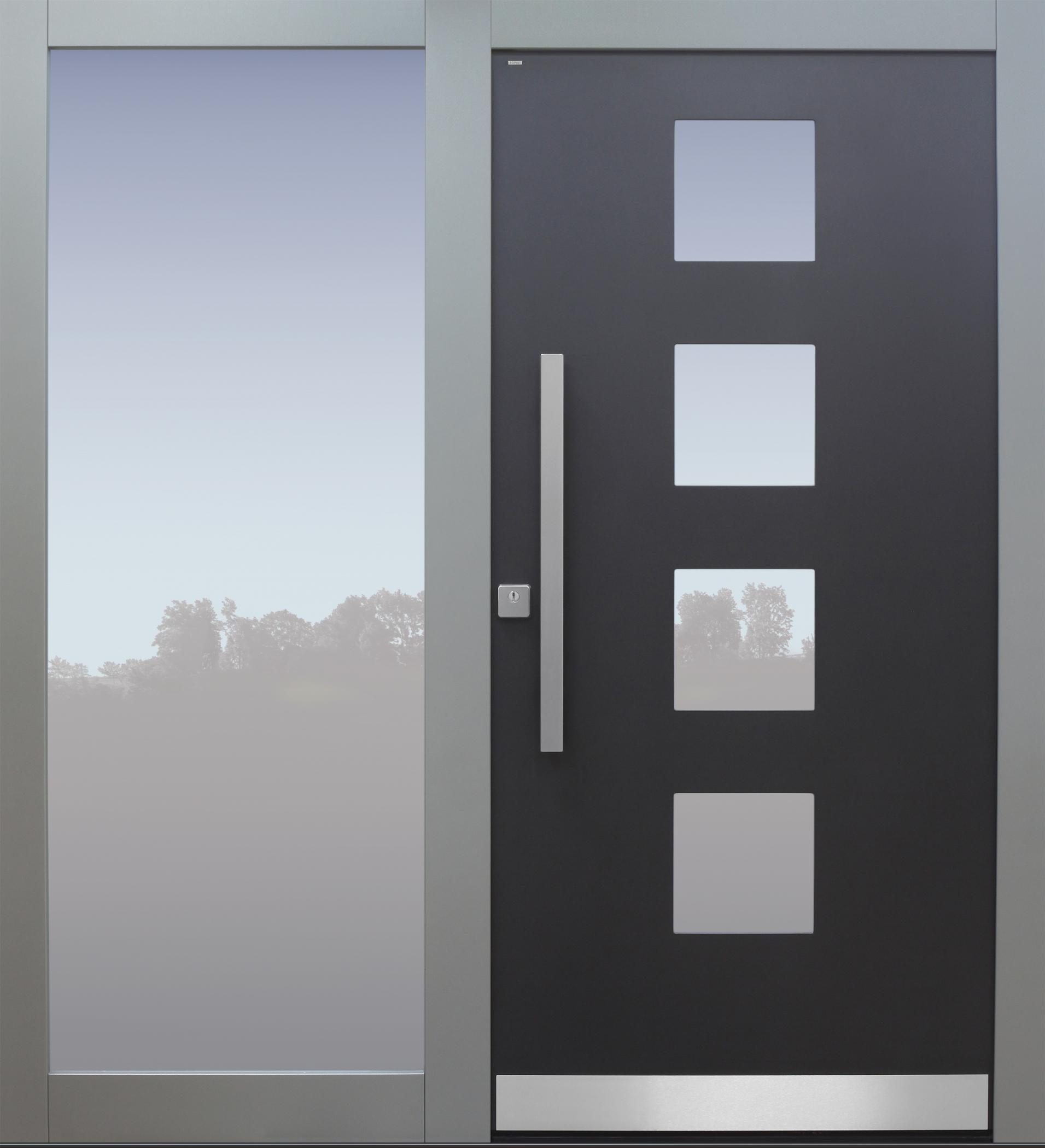 Haustür anthrazit und grau mit Seitenteil T Modell B60-T ...