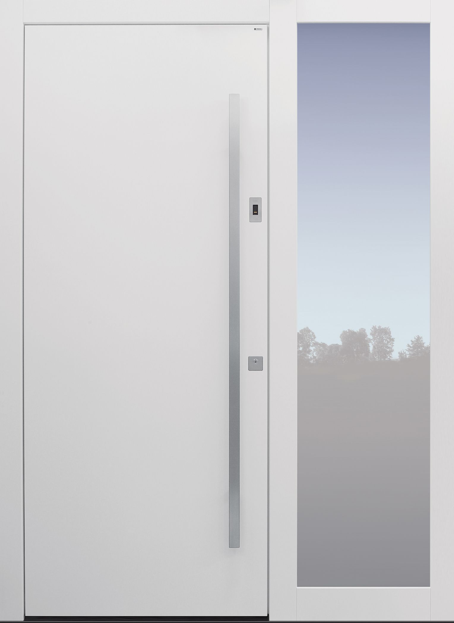 Favorit Haustür weiß mit Rosette flächenbündig auf Kundenwunsch und FF58